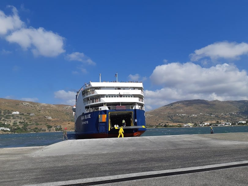 The Aqua Blue ferry docking at Andros island