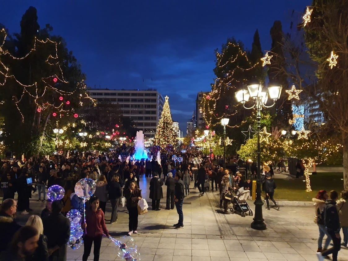 Exploring Syntagma Square in Athens at Christmas