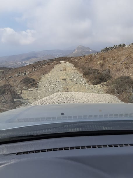 Driving a dirt road in Tinos, Greece
