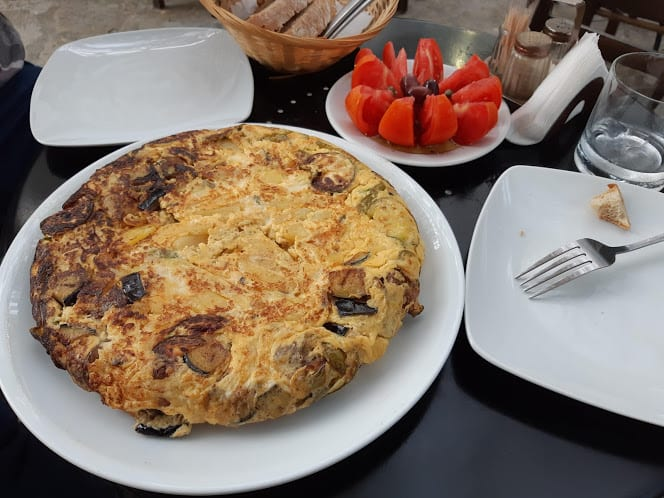 The huge Fourtalia omelette is a must-try when in Tinos, Greece