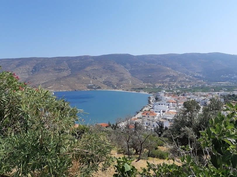 Driving to Korthi in Andros island Greece