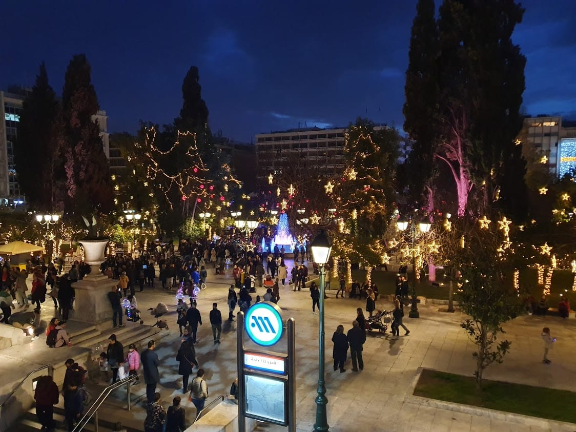 Syntagma Square in Athens at Christmas