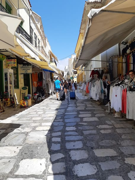 The market street in Chora, Tinos