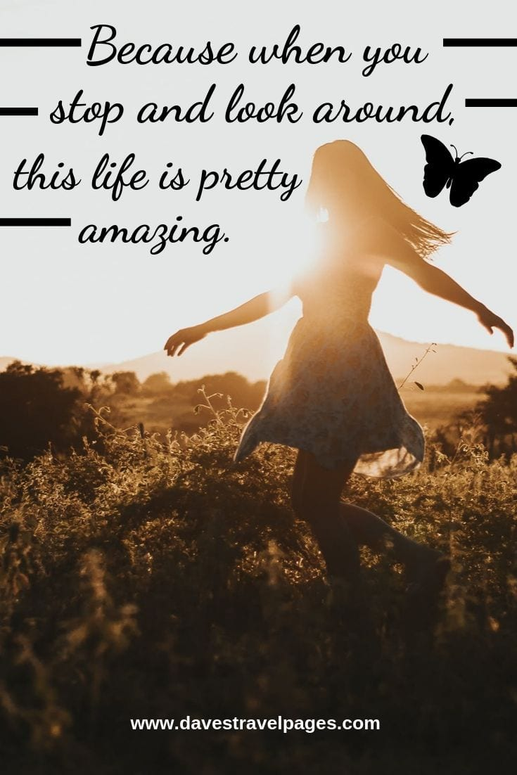 """Quotes about life: """"Because when you stop and look around, this life is pretty amazing."""""""