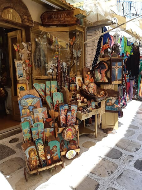 Religious icons for sale in Tinos island