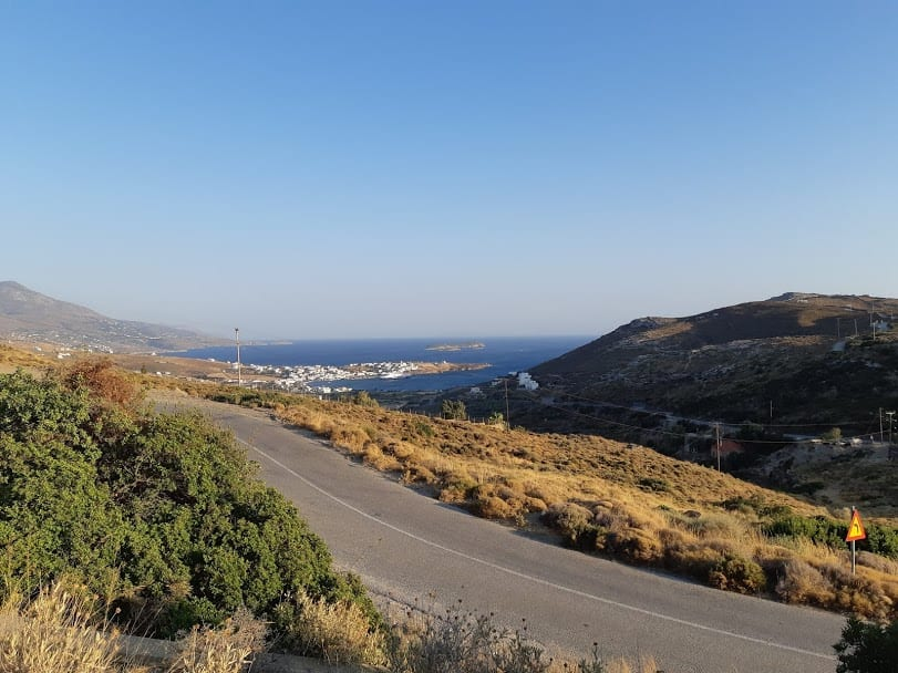 A paved road in Andors island Greece