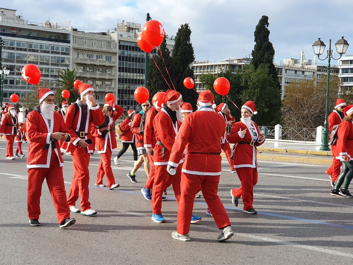 Santa run in Athens Greece