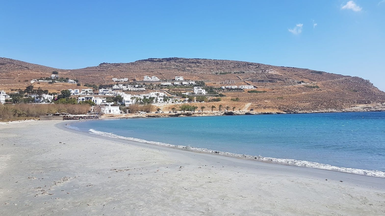 The beach at Agios Ioannis Porto in Tinos Island Greece