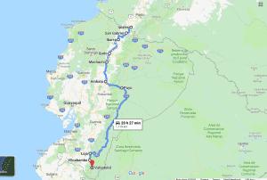 Cycling route through Ecuador