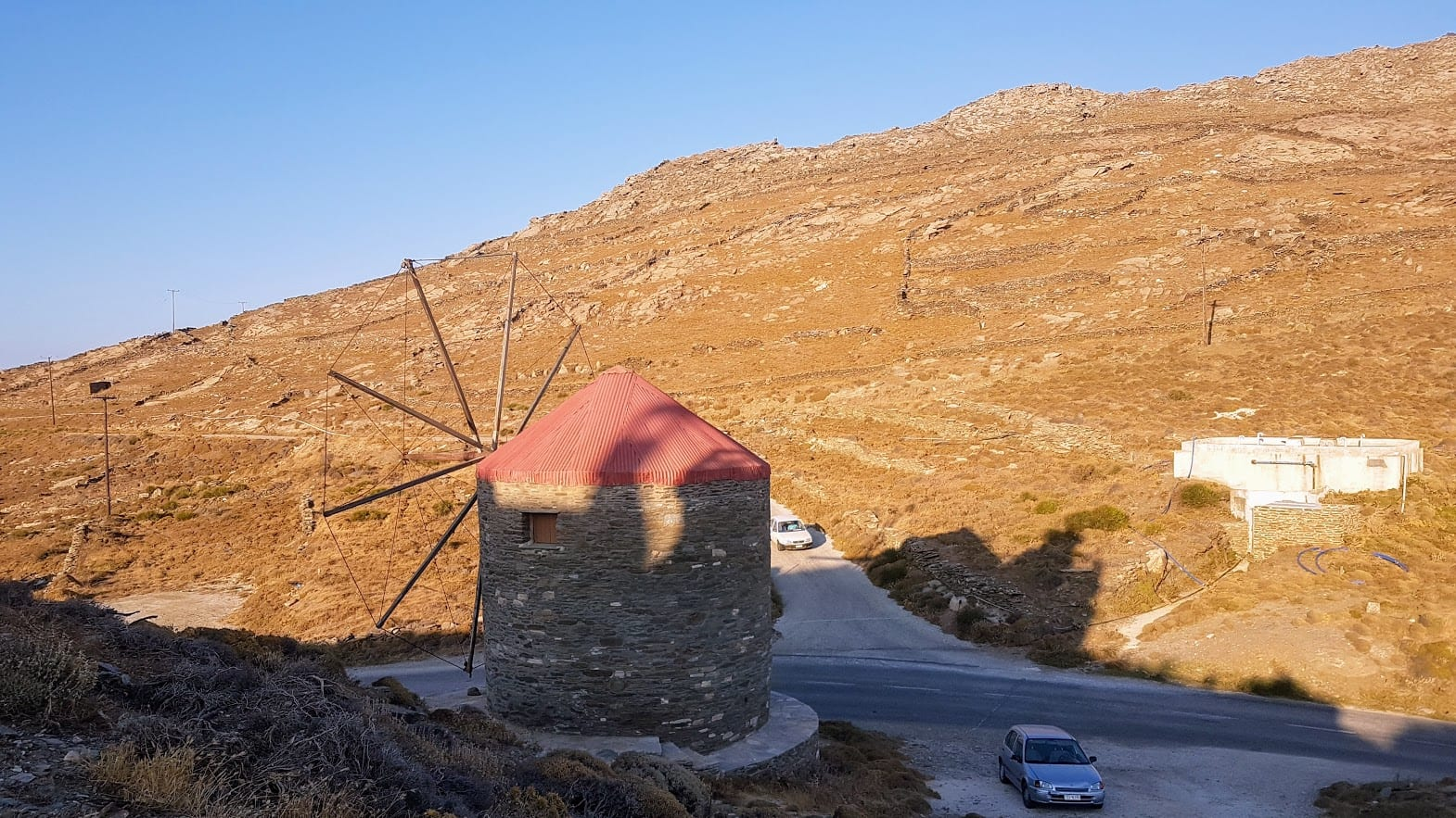 Driving in Tinos to some of the windmills