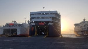 Getting ready to go aboard the Rafina to Tinos ferry