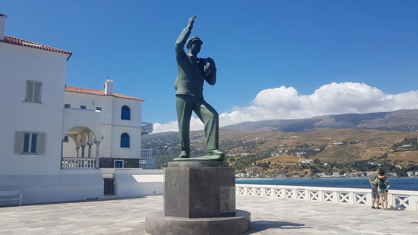 Statue of the fisherman in Andros Island in Greece