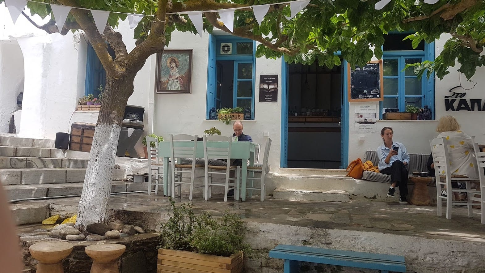 A cafe on Tinos island in Greece