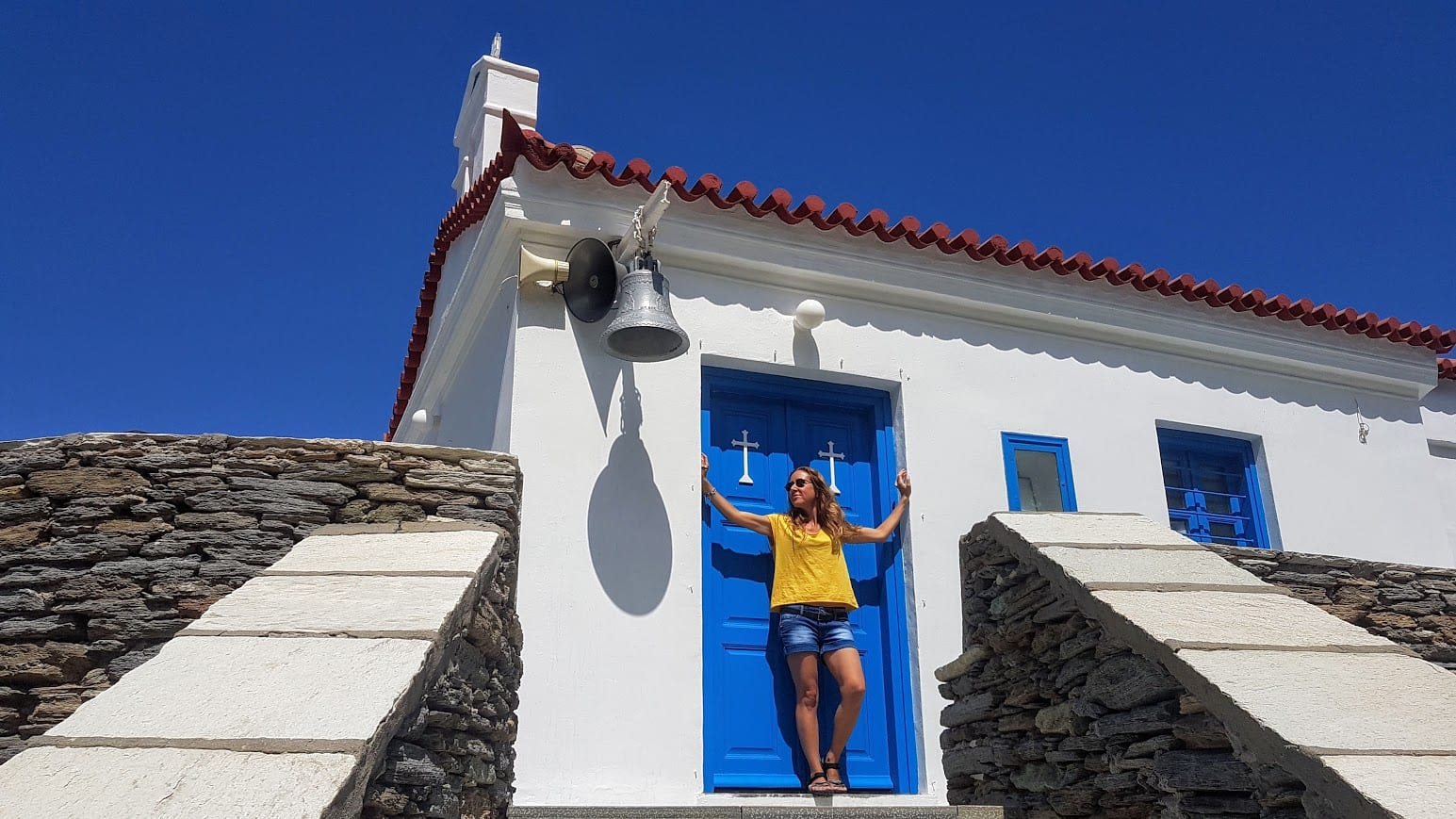 Vanessa in Andros island in Greece