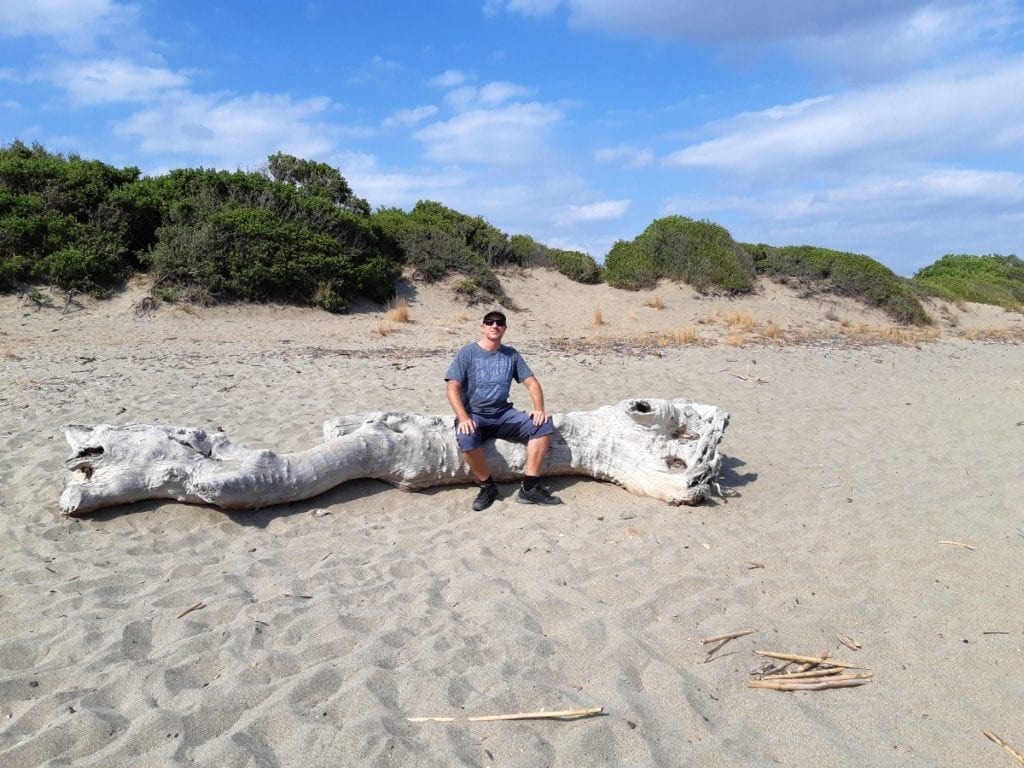 Dave enjoying the beach near Gythion