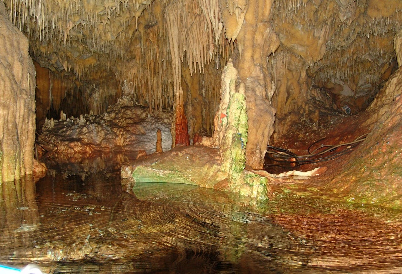 Inside the Diros caves near Areopoli Greece