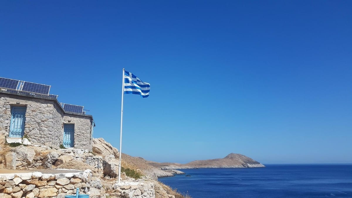 Greek flag flying at Cape Tainaron