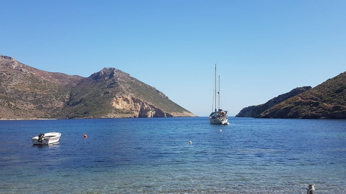 A yacht in the bay of Porto Kagio in Mani, Greece
