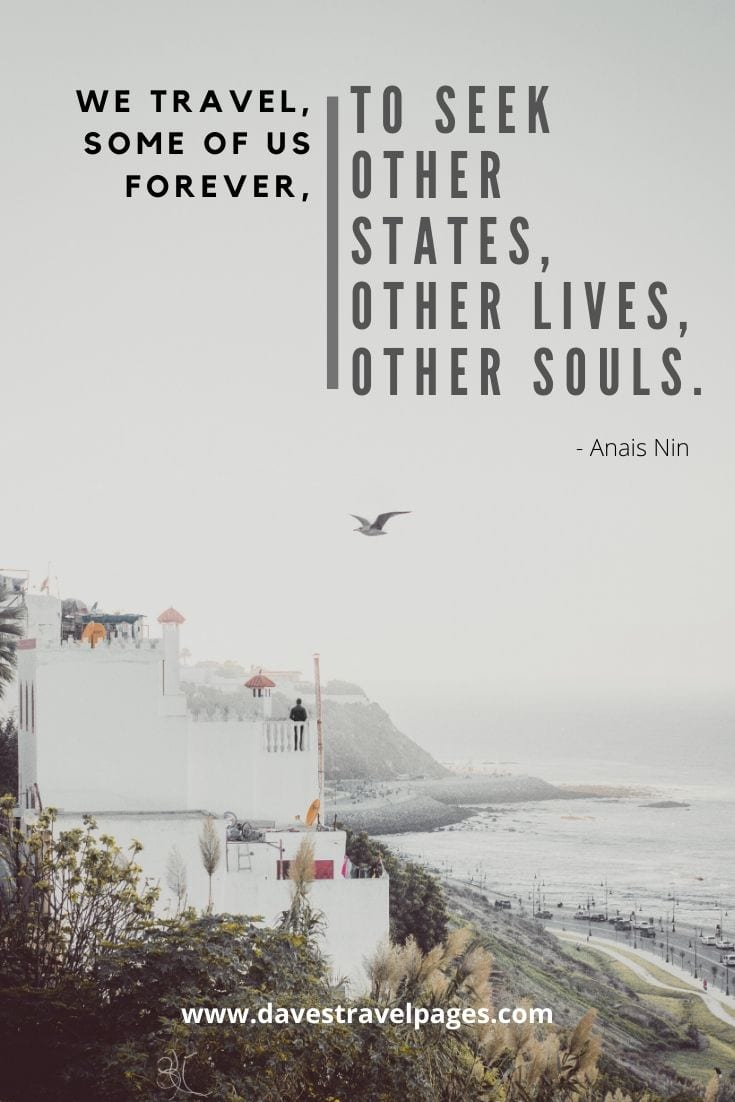 """We travel, some of us forever, to seek other states, other lives, other souls.""- Anais Nin"