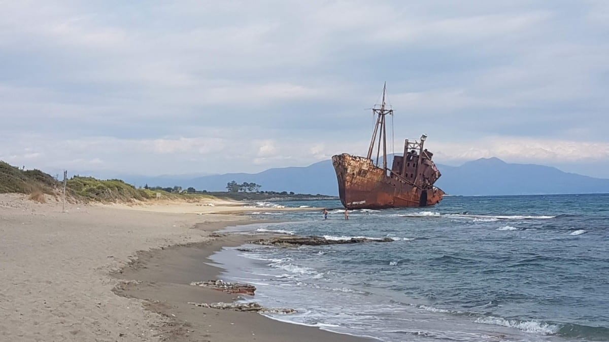 Shipwreck beach in Gythio, Mani