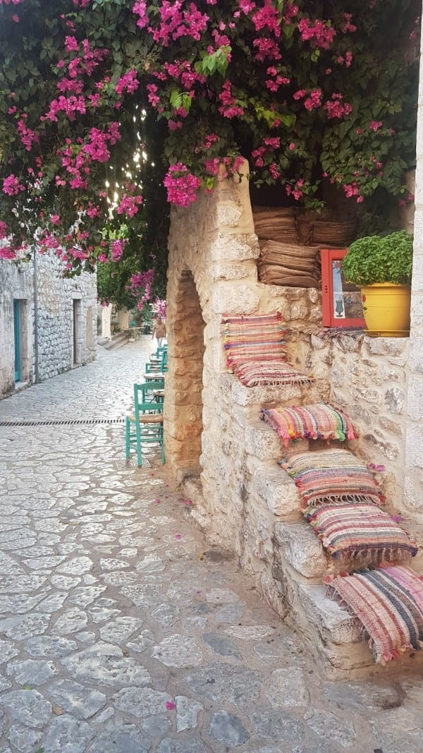 Walking along the streets of Areopoli in the Peloponnese