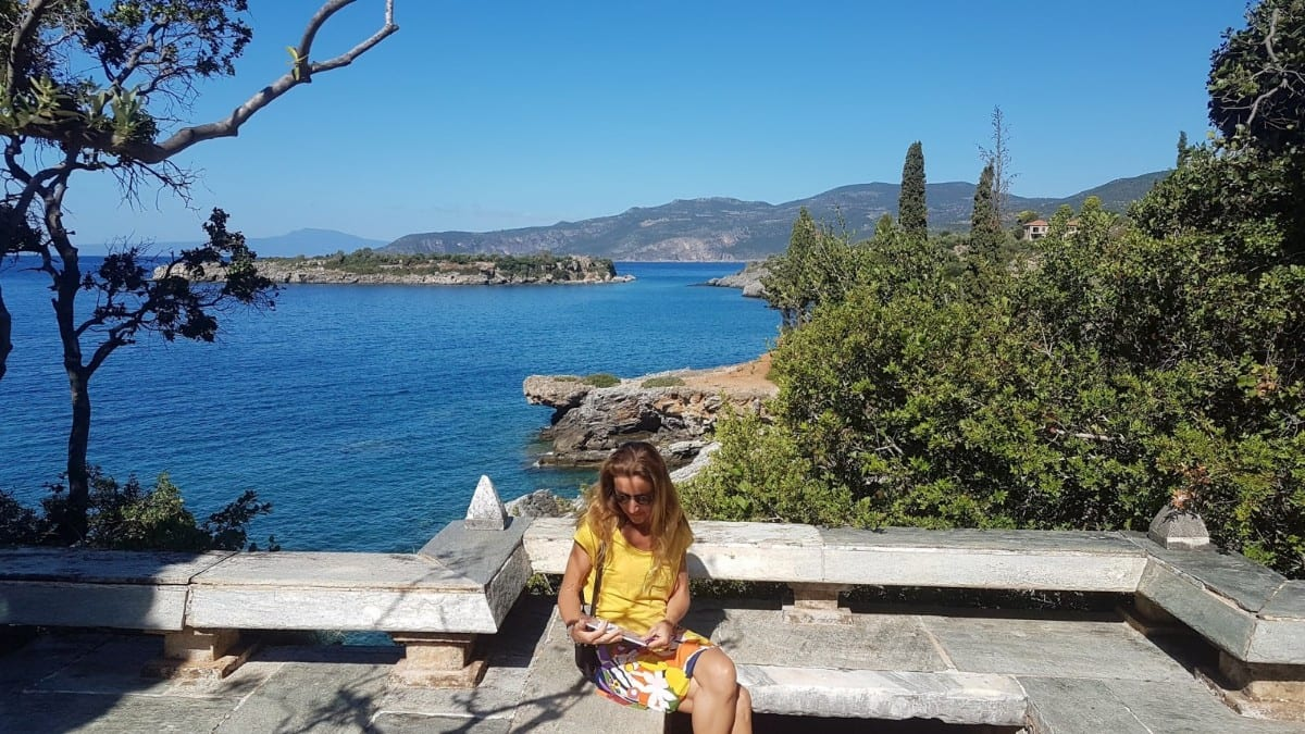 Vanessa at Patrick Leigh Fermor house