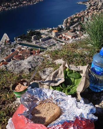 Having lunch with a view out over Kotor