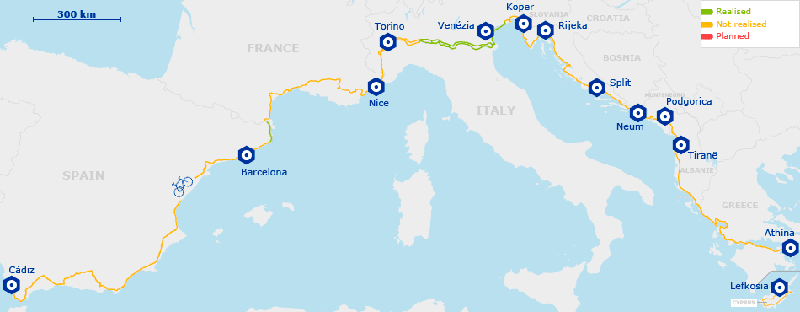 A map of Eurovelo route 8
