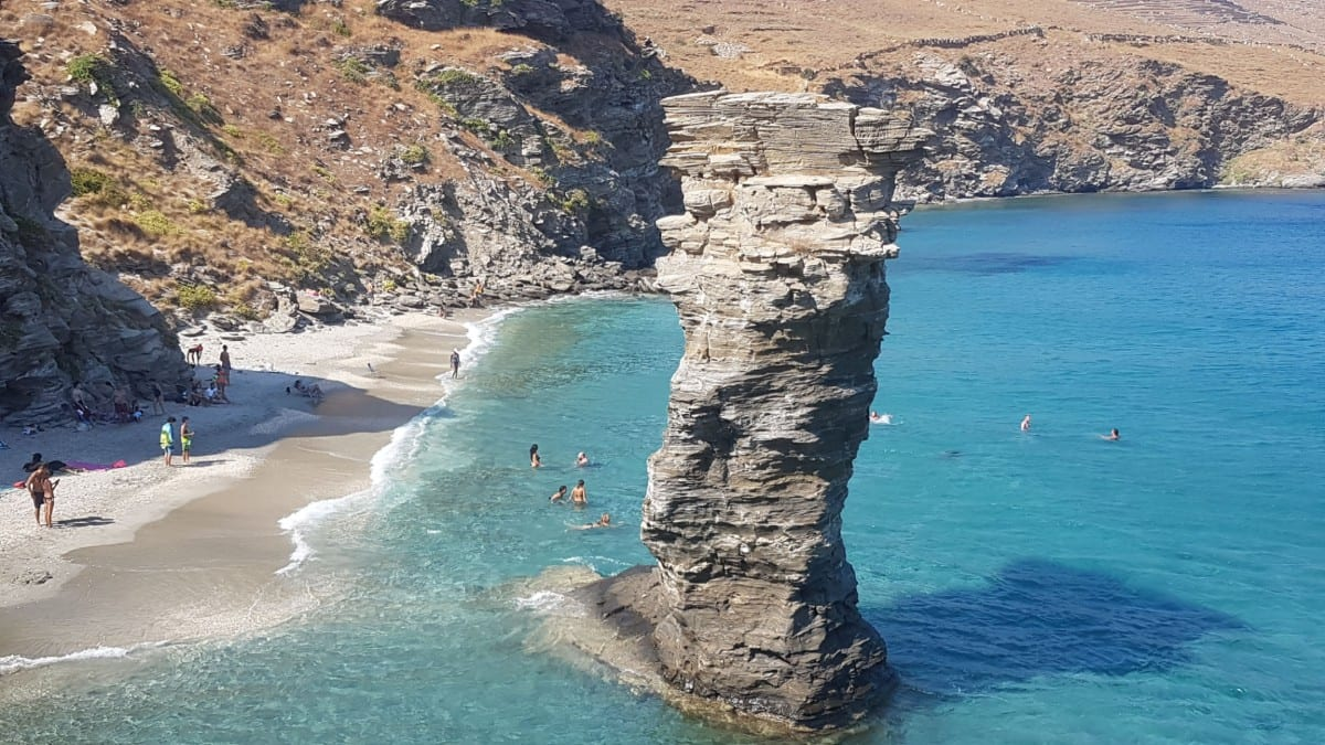 The most famous beach in Andros