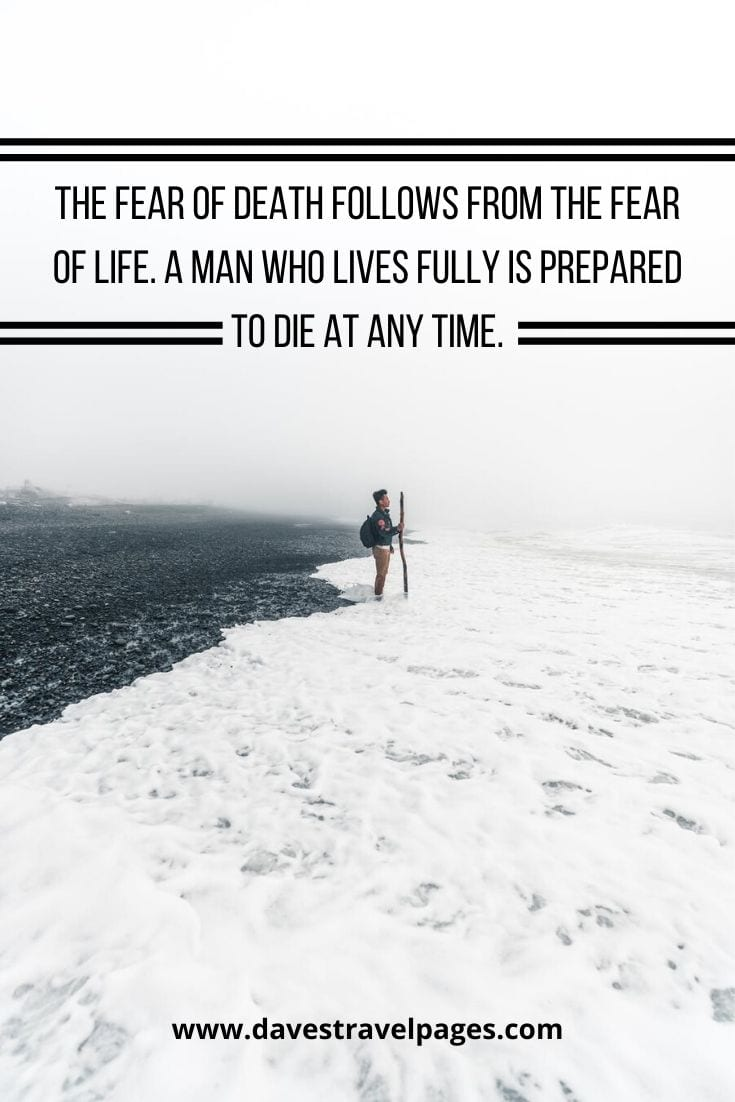 "Mark Twain Quotes - ""The fear of death follows from the fear of life. A man who lives fully is prepared to die at any time."""