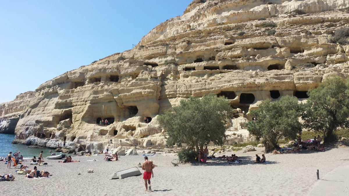 The Matala Caves in Crete always remind me of somewhere the Flintstones might live