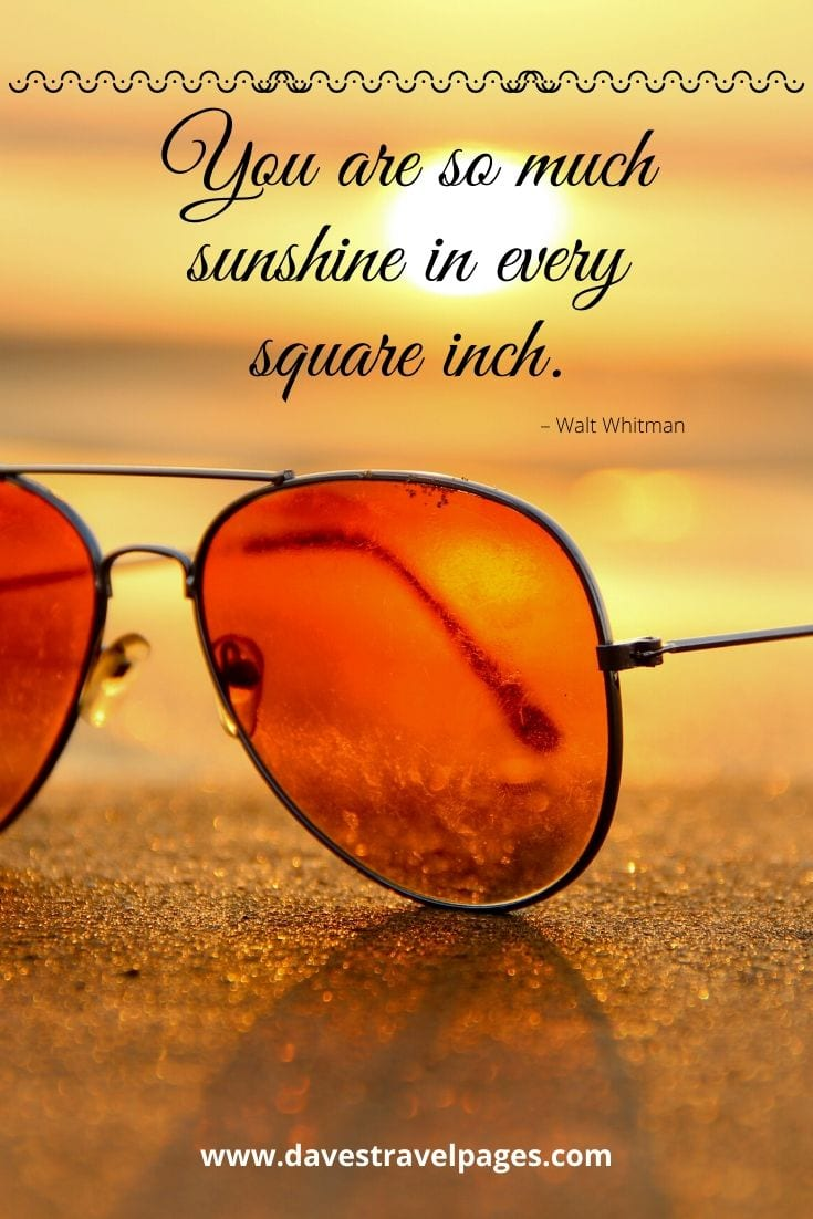 "Sunshine quote - ""You are so much sunshine in every square inch."" – Walt Whitman"