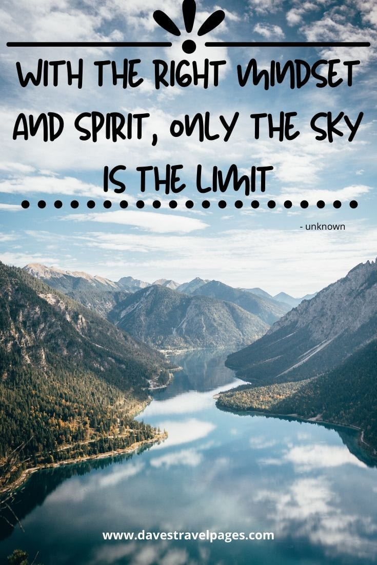 "Mindset Quotes - "" With the right mindset and spirit, only the sky is the limit"""