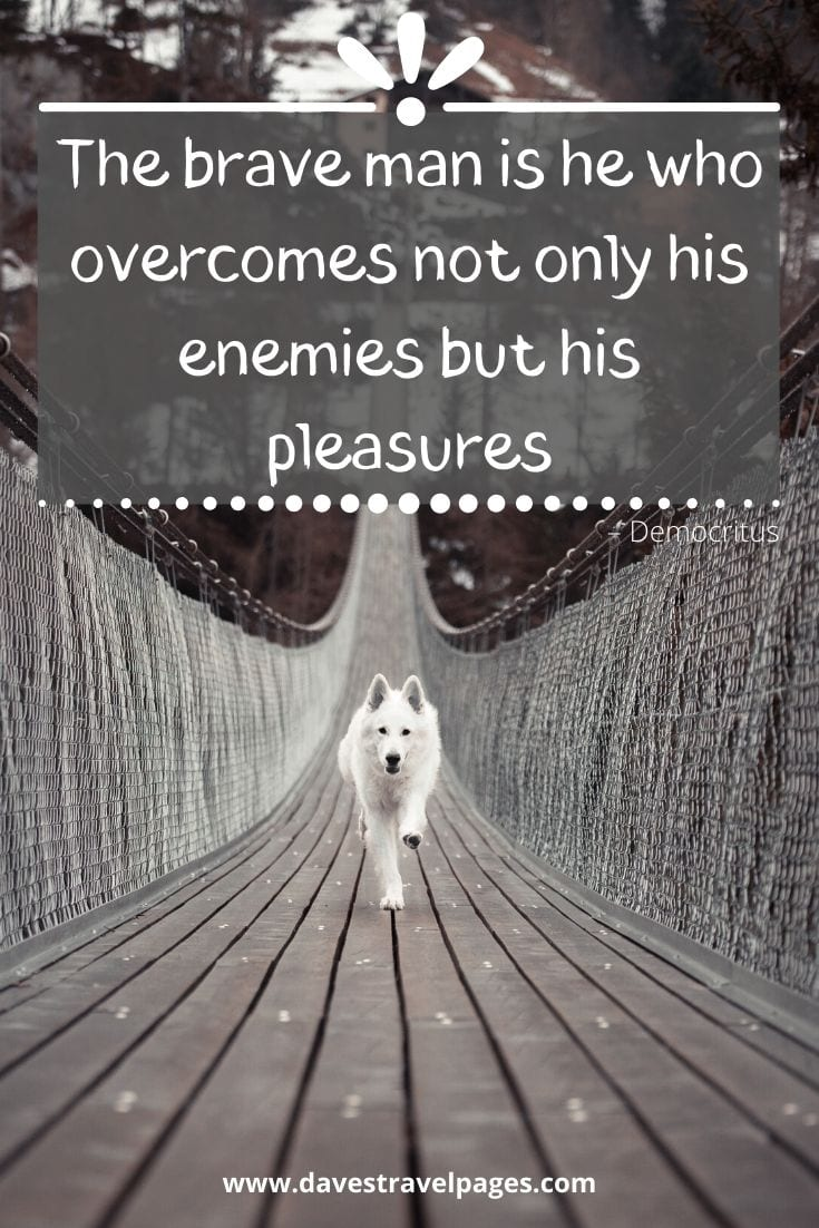"Philosophy quote: ""The brave man is he who overcomes not only his enemies but his pleasures"" – Democritus"