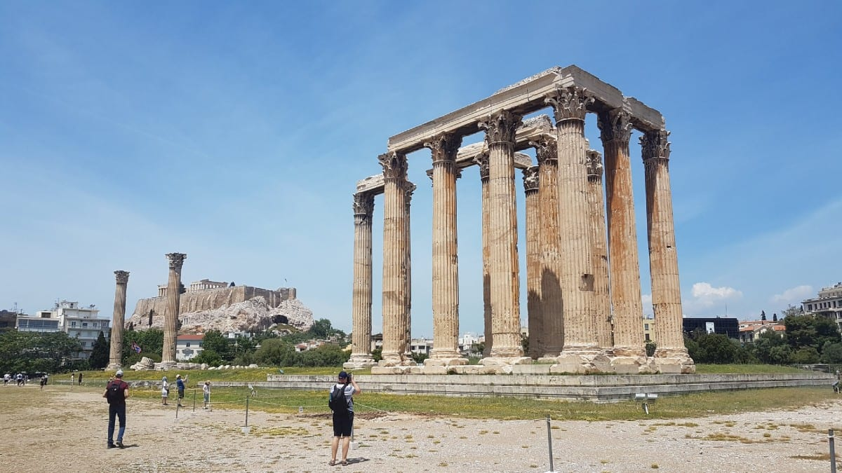 The impressive Temple of Zeus in Athens Greece