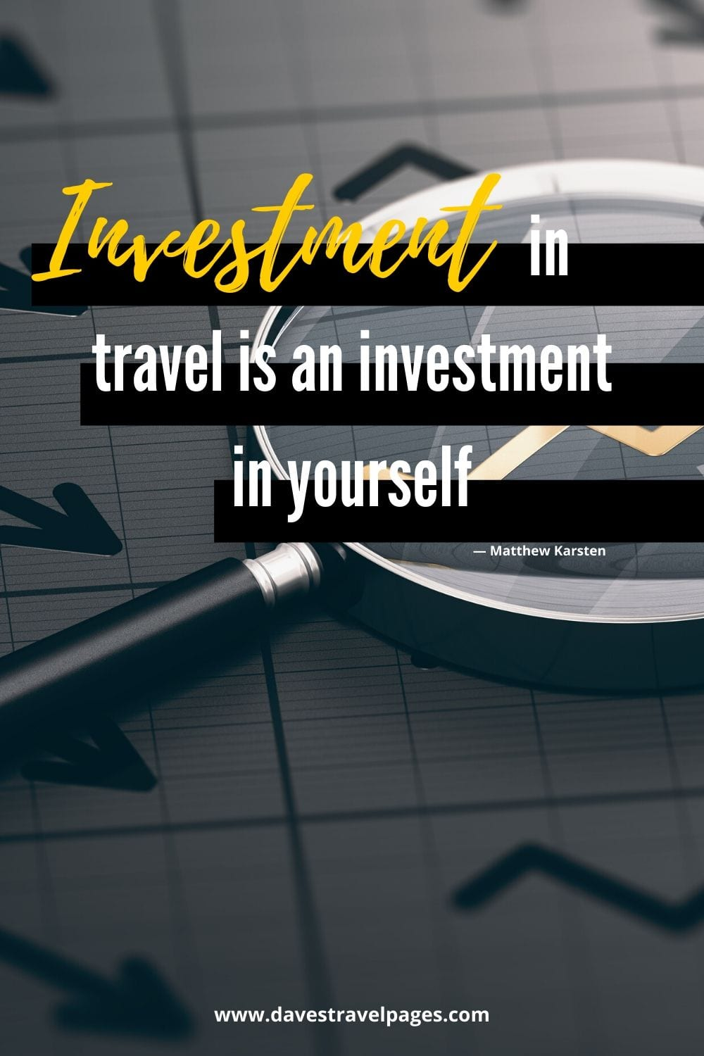 """Modern travel quotes by bloggers: """"Investment in travel is an investment in yourself."""" — Matthew Karsten"""