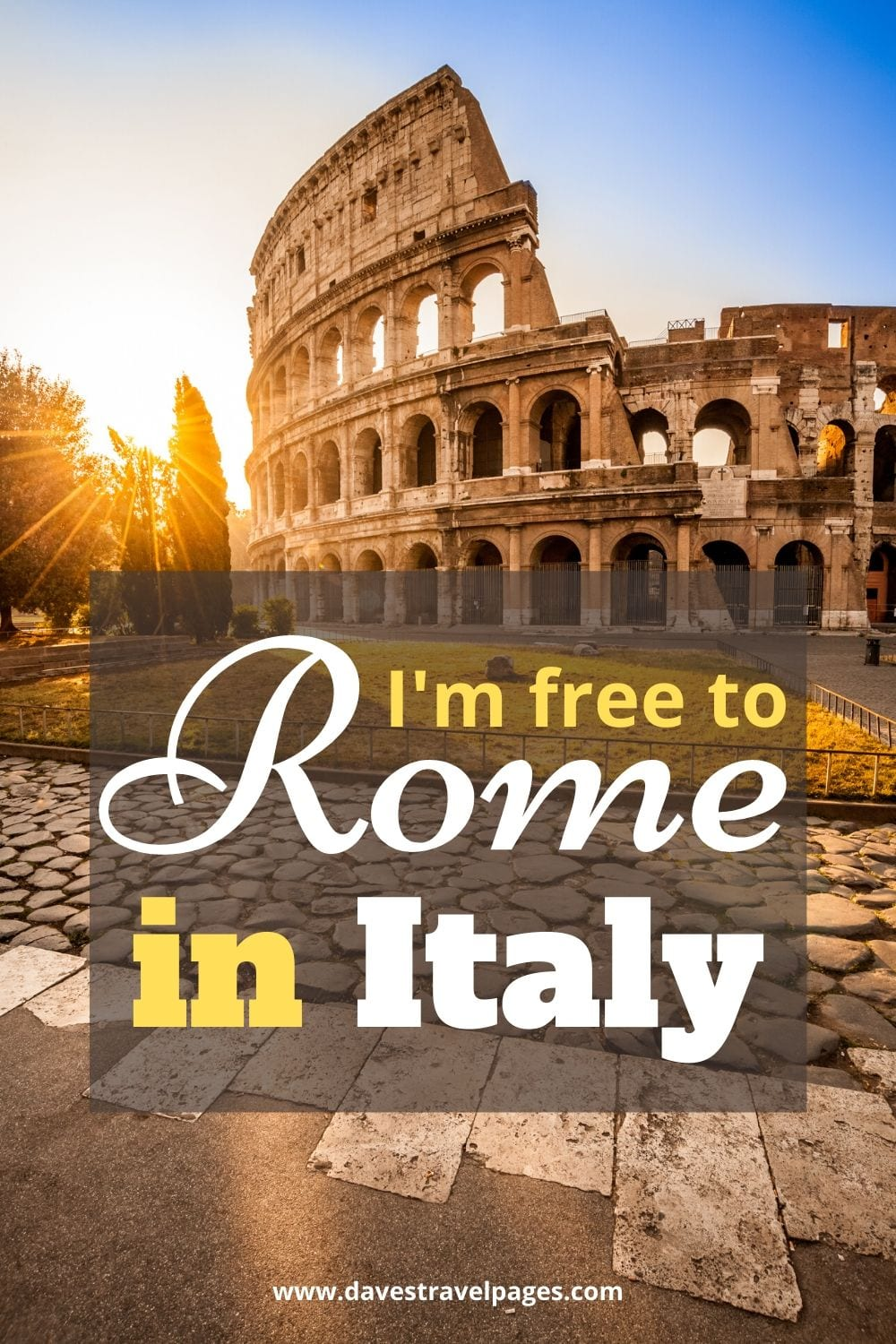 "Travel caption about Italy: ""I'm free to Rome in Italy."""