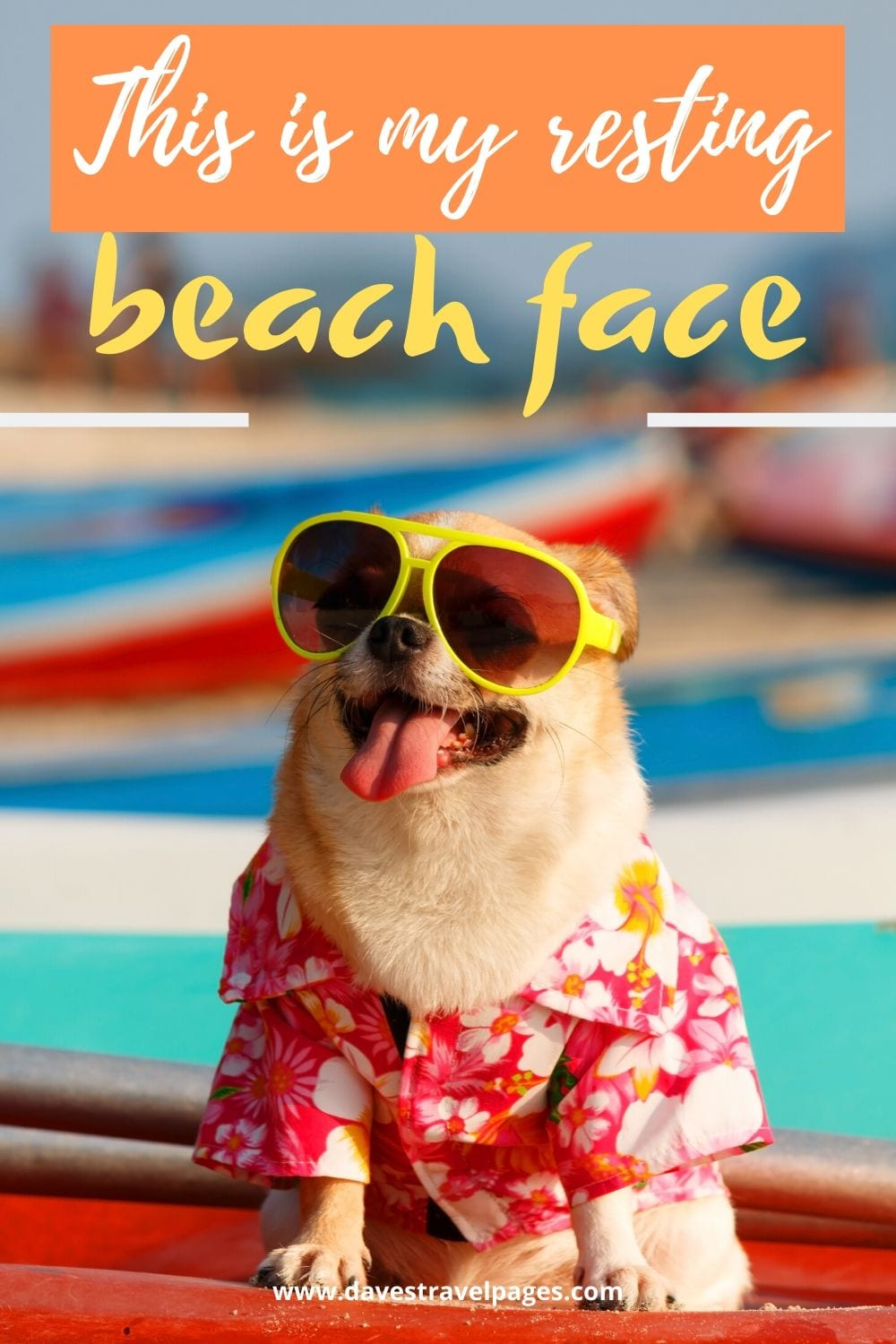 """Funny beach captions: """"This is my resting beach face."""""""