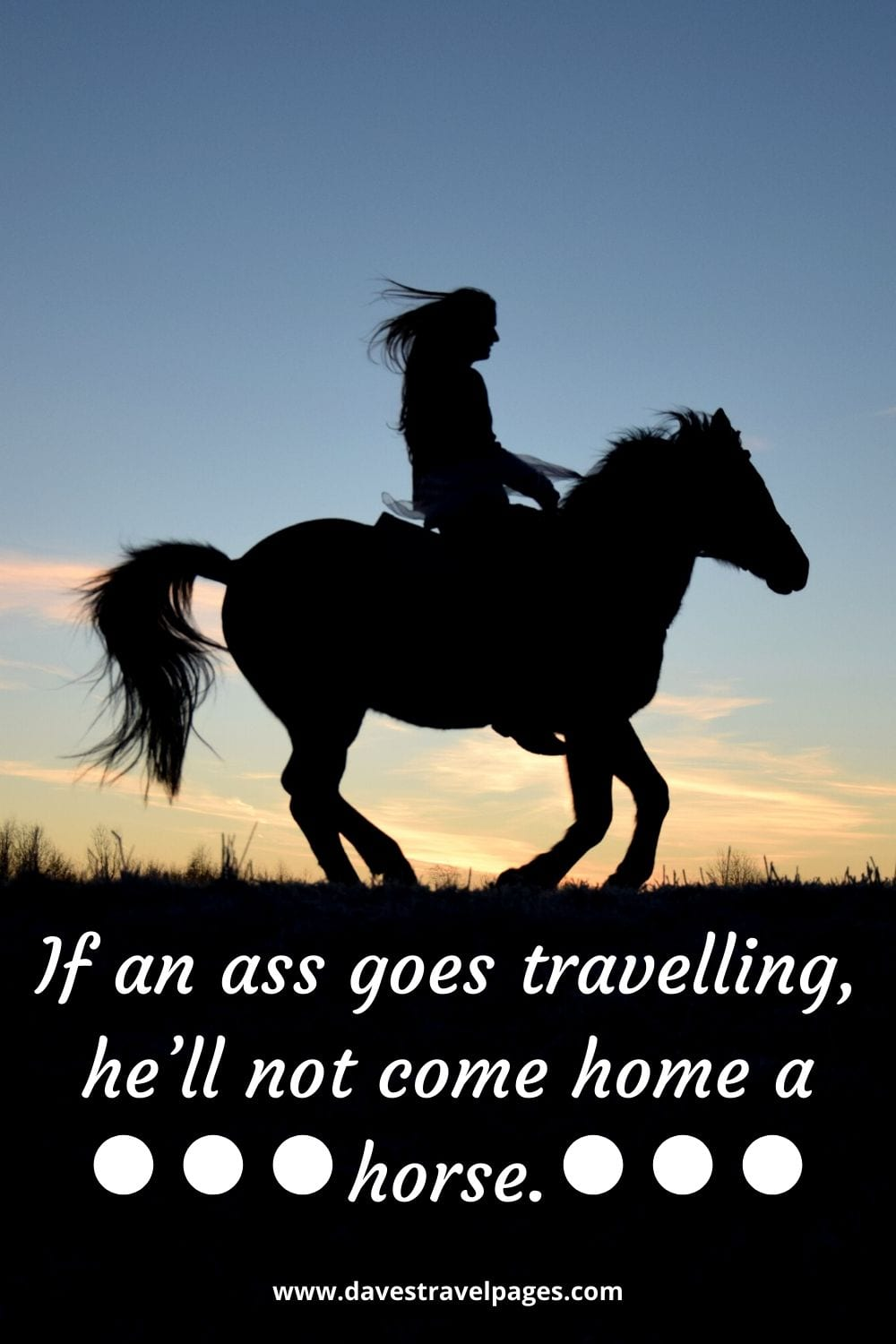 """Funny travel quotes: """"If an ass goes travelling, he'll not come home a horse."""" – Thomas Fuller"""