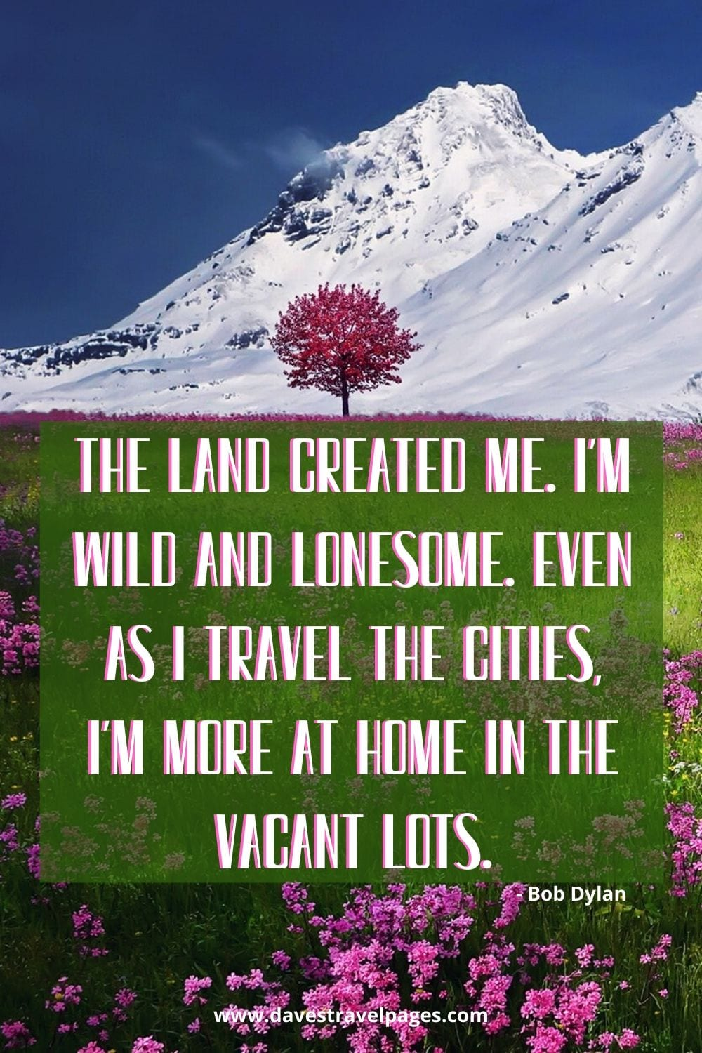 The land created me. I'm wild and lonesome. Even as I travel the cities, I'm more at home in the vacant lots. Bob Dylan