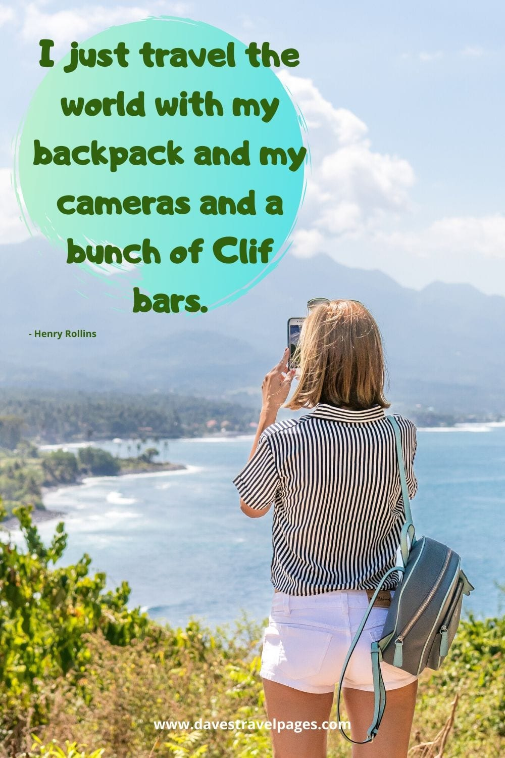 Famous travel the world quotes - I just travel the world with my backpack and my cameras and a bunch of Clif bars. Henry Rollins