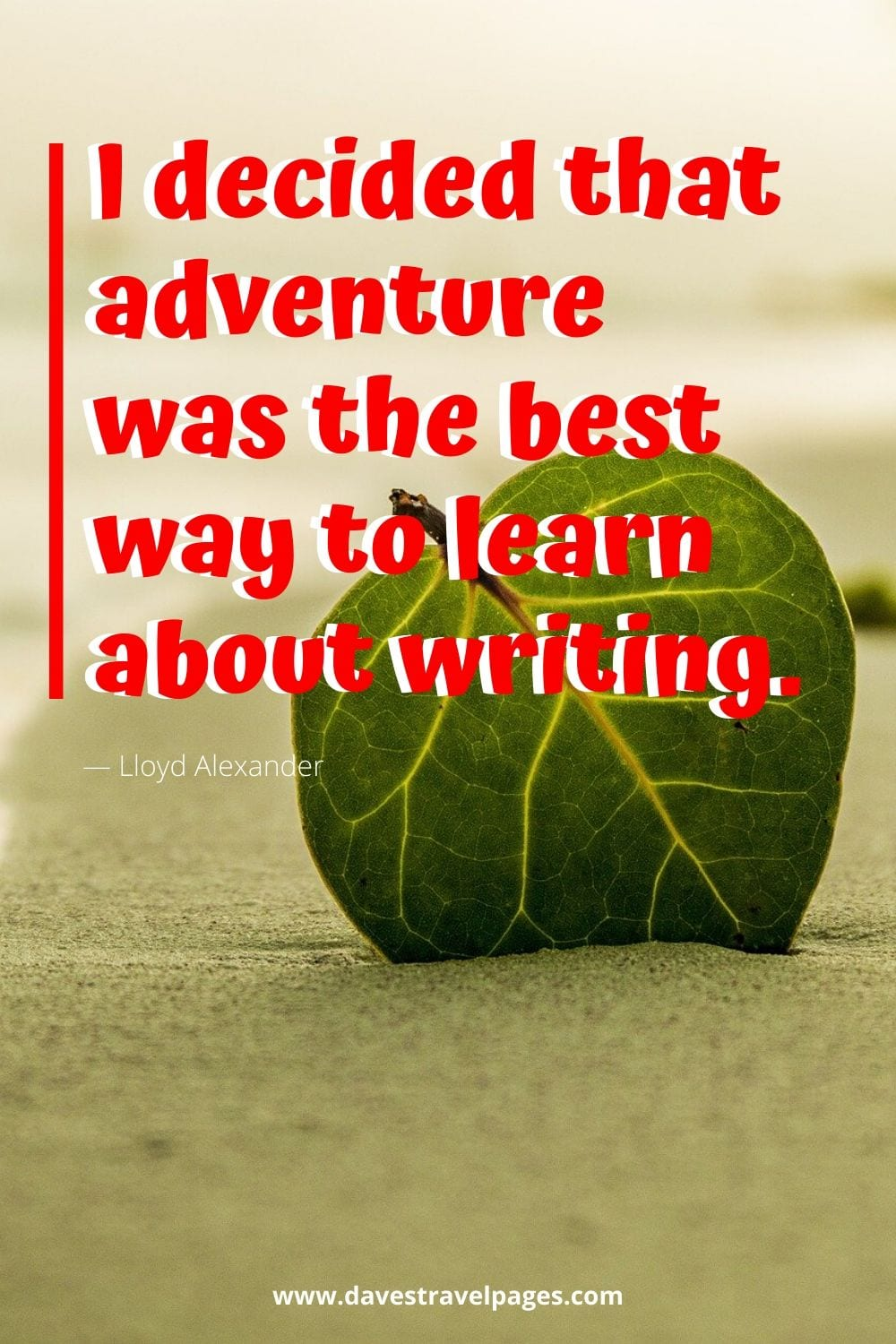 "Famous quotes about travel and adventure - I decided that adventure was the best way to learn about writing.""― Lloyd Alexander"