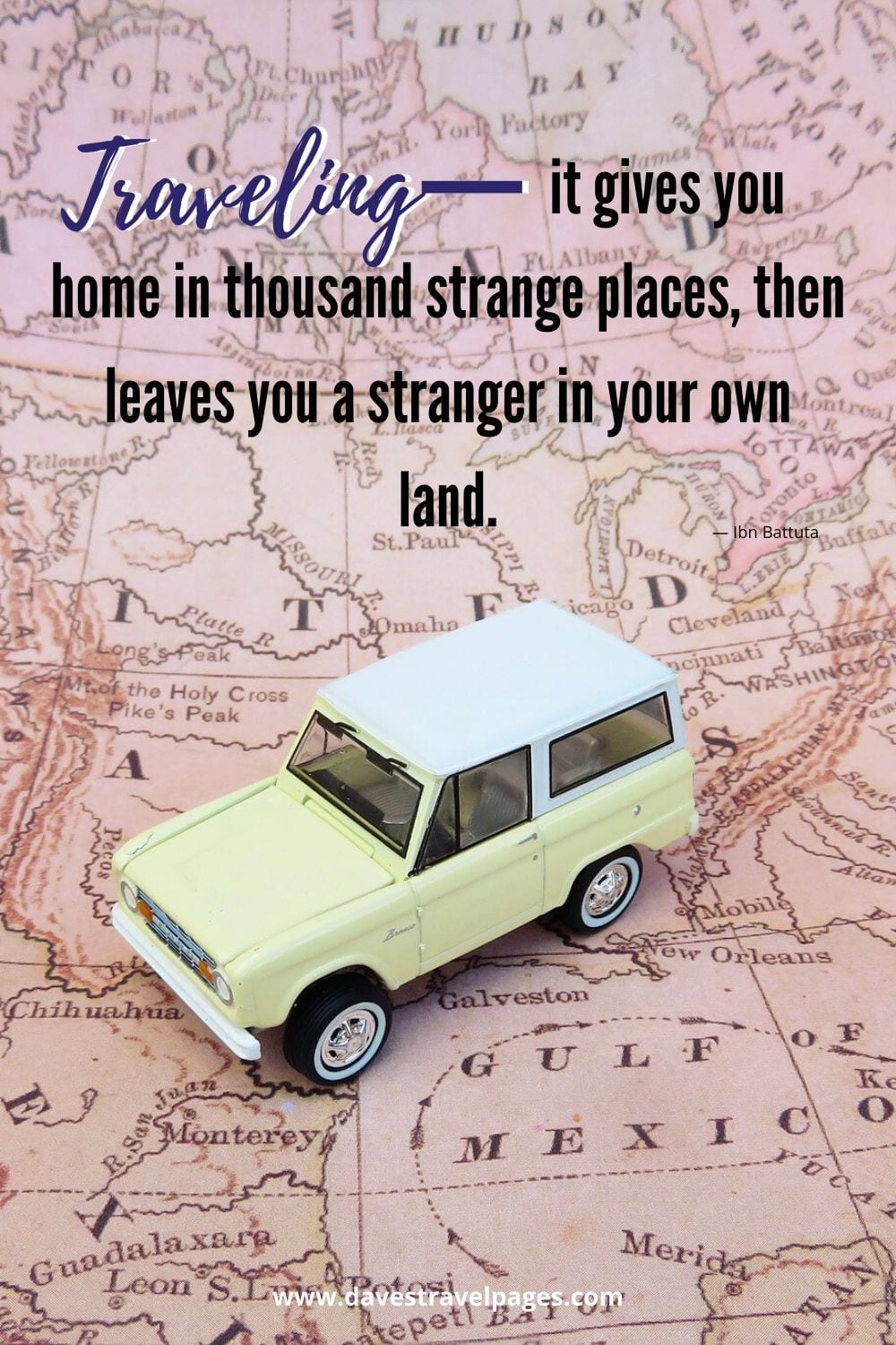 "Thoughts about traveling: Traveling—it gives you home in thousand strange places, then leaves you a stranger in your own land."" — Ibn Battuta"