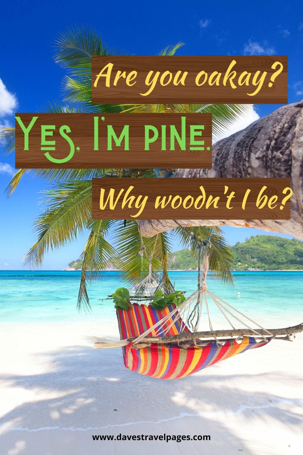 Nature Captions: Are you oakay? Yes, I'm pine. Why woodn't I be?