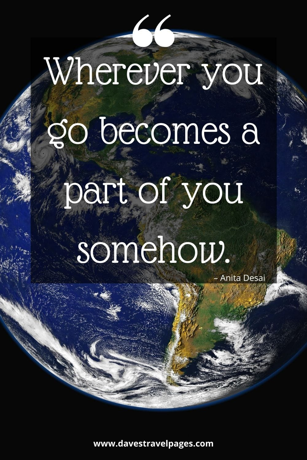 "Traveling quotes: Wherever you go becomes a part of you somehow."" – Anita Desai"