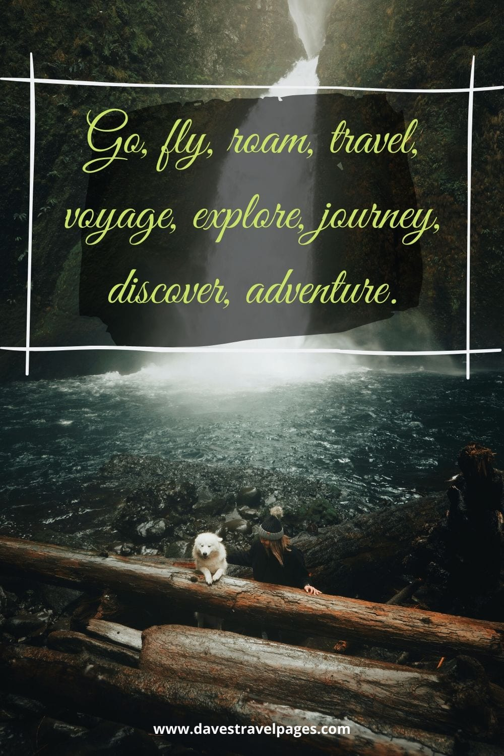 Inspiring travel caption: Go, fly, roam, travel, voyage, explore, journey, discover, adventure.""