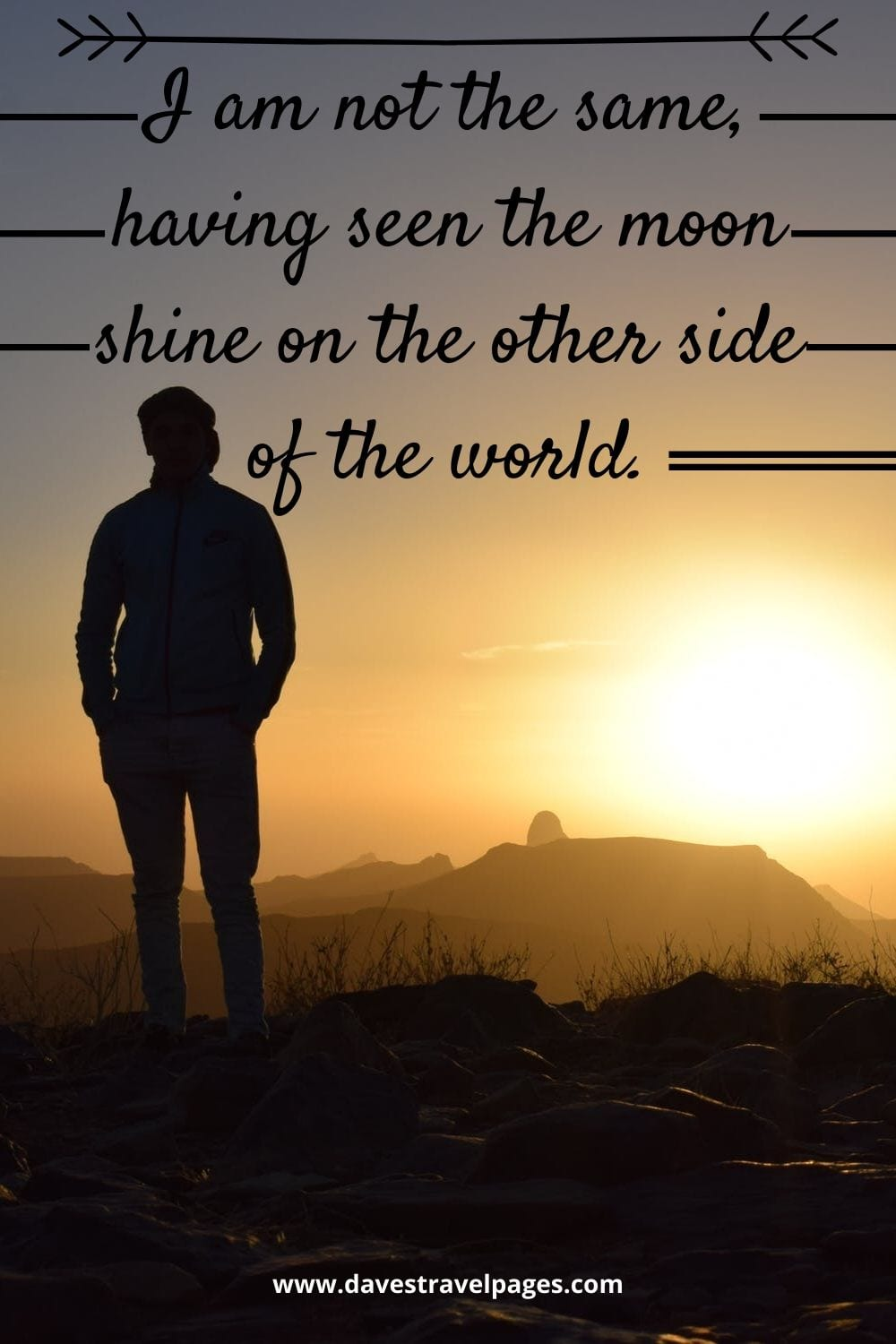 "Inspiring travel quote: I am not the same, having seen the moon shine on the other side of the world."" – Mary Anne Radmacher"