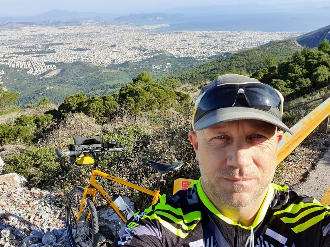 Dave Briggs cycling in Athens