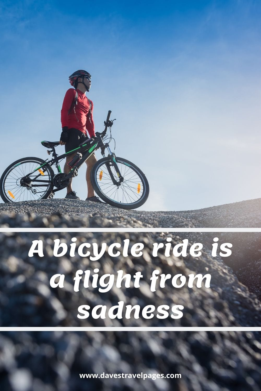 Bicycle quotation - A bicycle ride is a flight from sadness