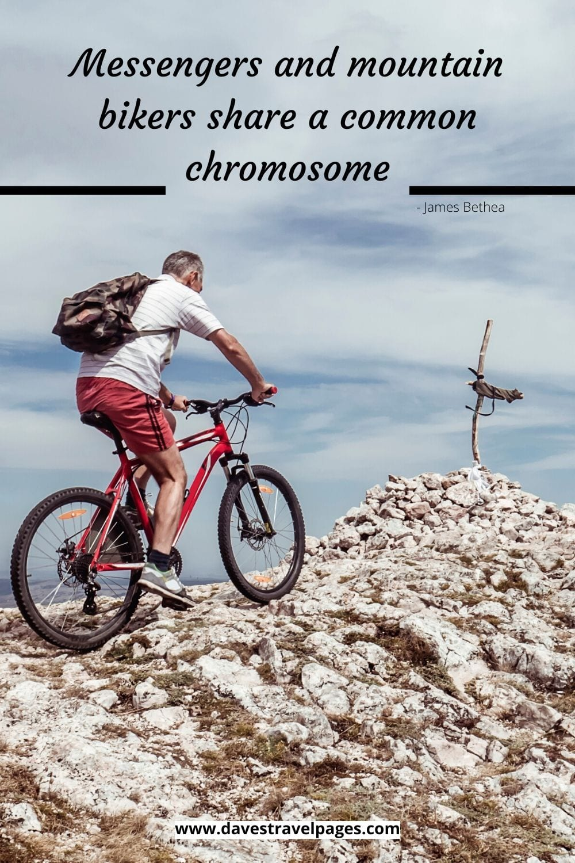 Messengers and mountain bikers share a common chromosome. ~James Bethea